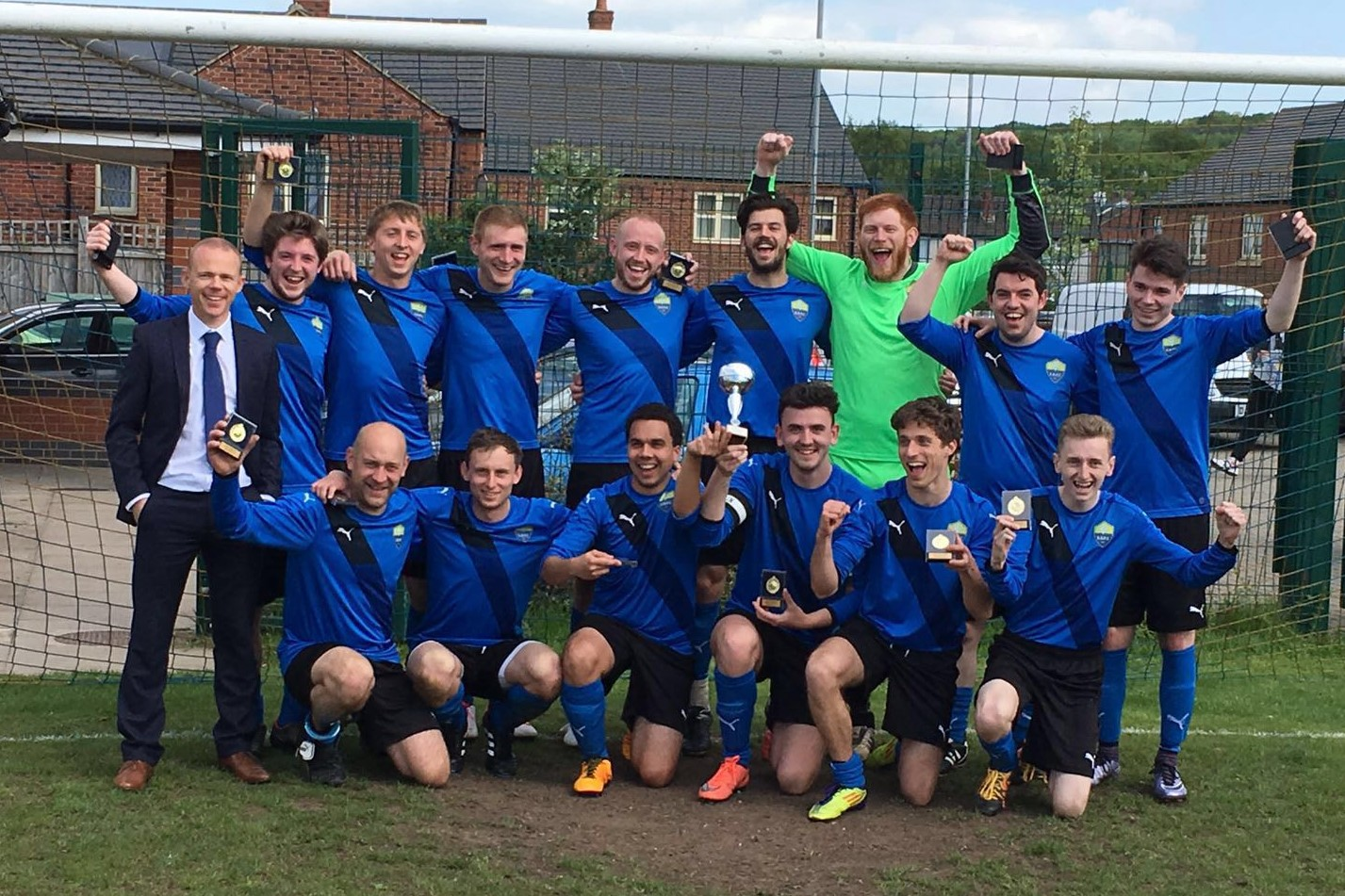 Sutton Bonington FC Football Club celebrate winning the Leicestershire Inter-League Cup